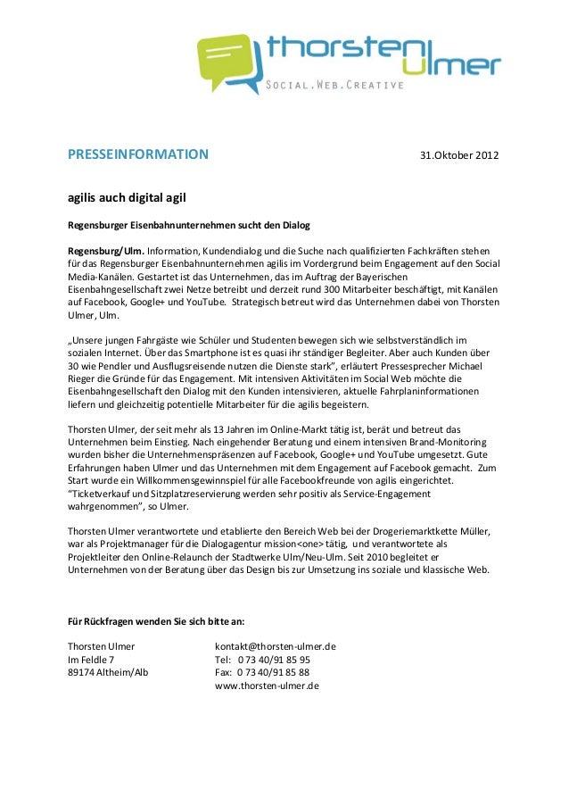 PRESSEINFORMATION                                                       31.Oktober2012agilisauchdigital...