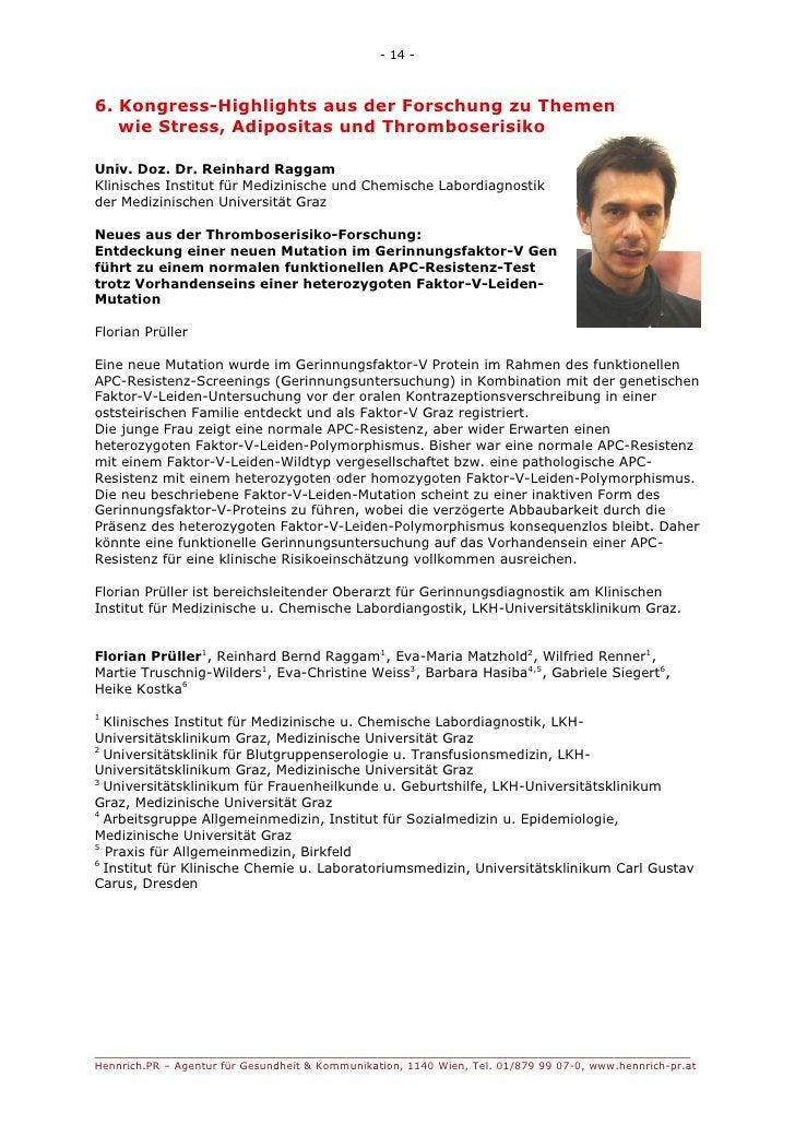 - 14 -6. Kongress-Highlights aus der Forschung zu Themen   wie Stress, Adipositas und ThromboserisikoUniv. Doz. Dr. Reinha...