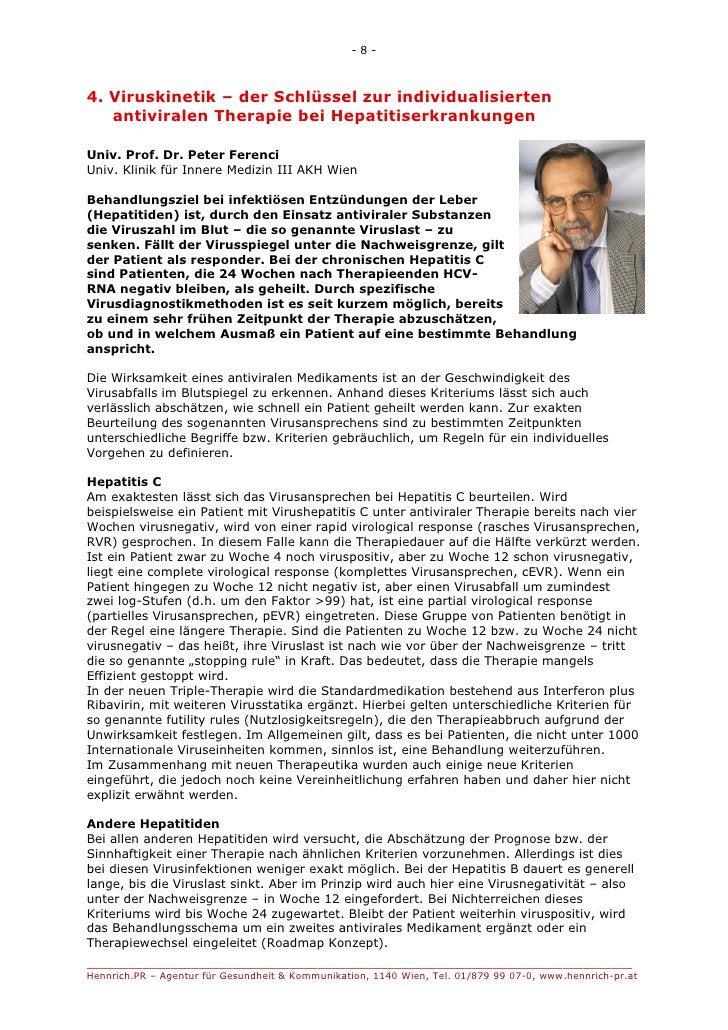 -8-4. Viruskinetik – der Schlüssel zur individualisierten   antiviralen Therapie bei HepatitiserkrankungenUniv. Prof. Dr. ...