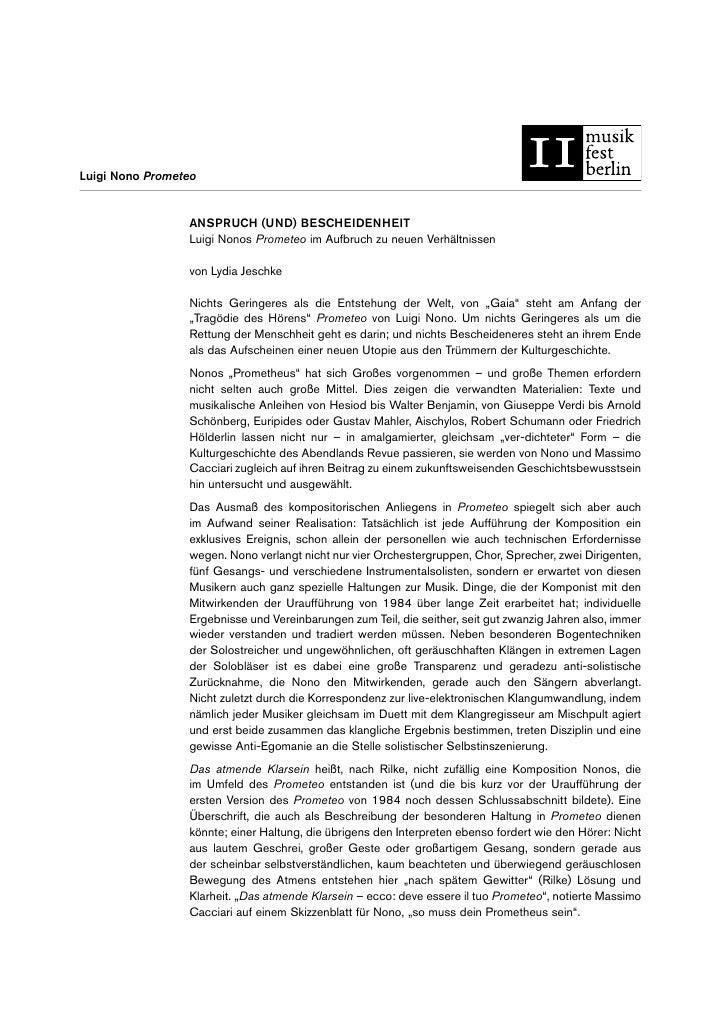 Luigi Nono Prometeo                 ANSPRUCH (UND) BESCHEIDENHEIT                 Luigi Nonos Prometeo im Aufbruch zu neue...