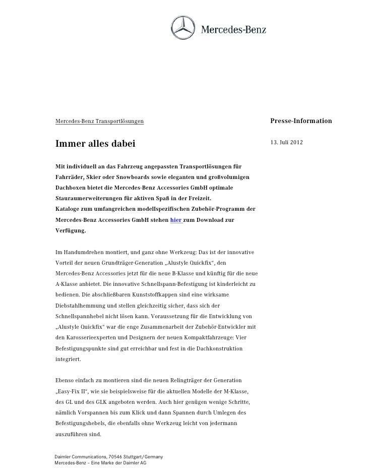 Mercedes-Benz Transportlösungen                                                  Presse-InformationImmer alles dabei      ...