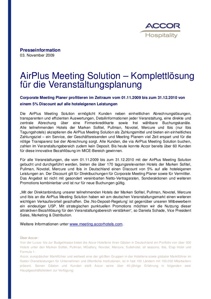 Presseinformation03. November 2009AirPlus Meeting Solution – Komplettlösungfür die VeranstaltungsplanungCorporate Meeting ...