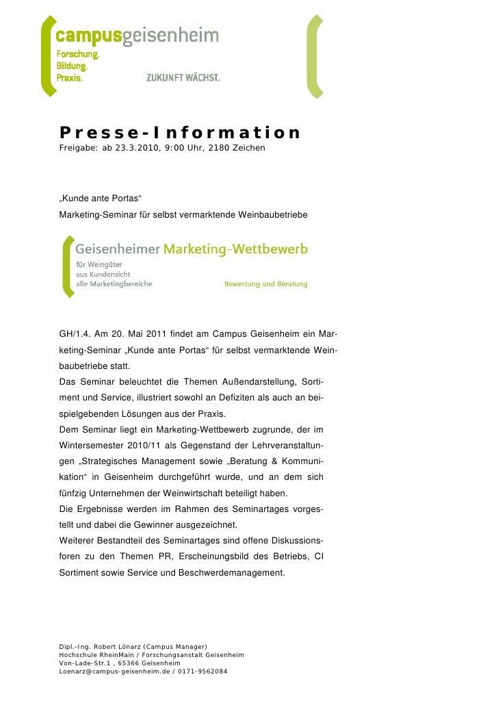 """Presse-InformationFreigabe: ab 23.3.2010, 9:00 Uhr, 2180 Zeichen""""Kunde ante Portas""""Marketing-Seminar für selbst vermarkten..."""