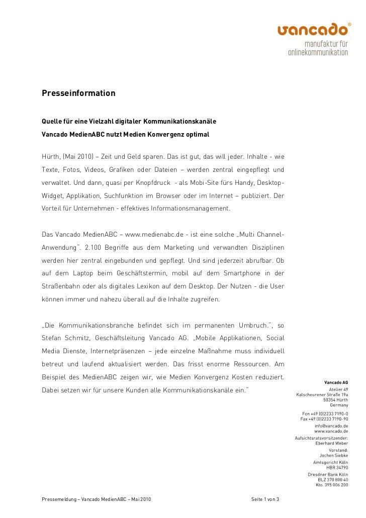 PresseinformationQuelle für eine Vielzahl digitaler KommunikationskanäleVancado MedienABC nutzt Medien Konvergenz optimalH...