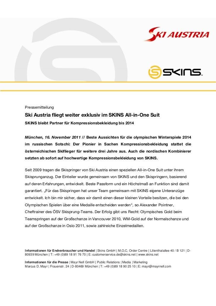 PressemitteilungSki Austria fliegt weiter exklusiv im SKINS All-in-One SuitSKINS bleibt Partner für Kompressionsbekleidung...