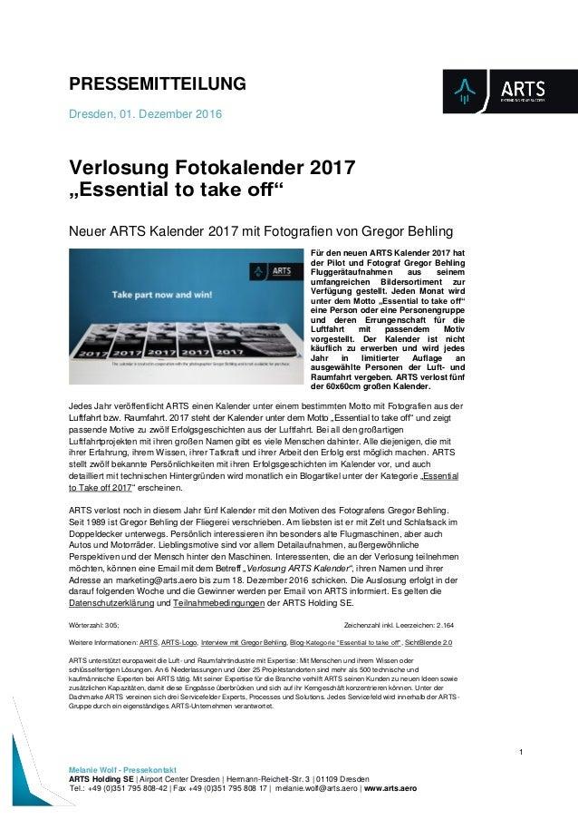 PRESSEMITTEILUNG Dresden, 01. Dezember 2016 1 Melanie Wolf - Pressekontakt ARTS Holding SE | Airport Center Dresden | Herm...