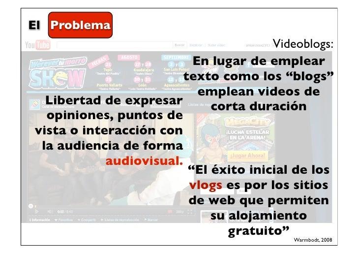 El Problema                                        Videoblogs:                           En lugar de emplear              ...