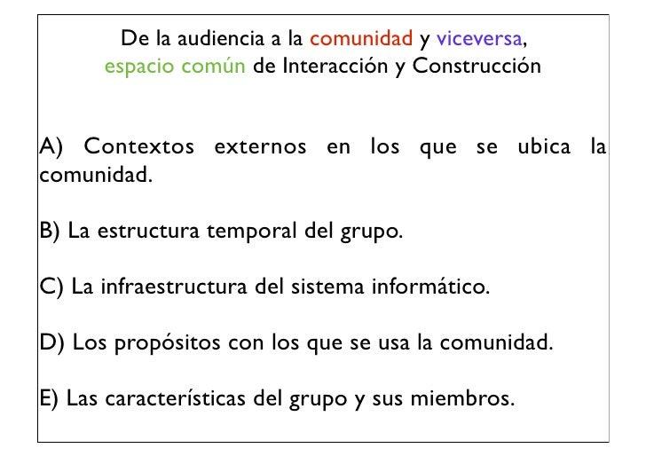 De la audiencia a la comunidad y viceversa,      espacio común de Interacción y ConstrucciónA) Contextos externos en los q...