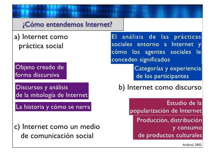 ¿Cómo entendemos Internet?a) Internet como              El análisis de las prácticas  práctica social             sociales...