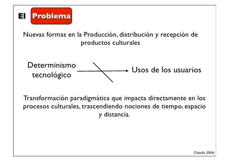 El Problema Nuevas formas en la Producción, distribución y recepción de                    productos culturales  Determini...