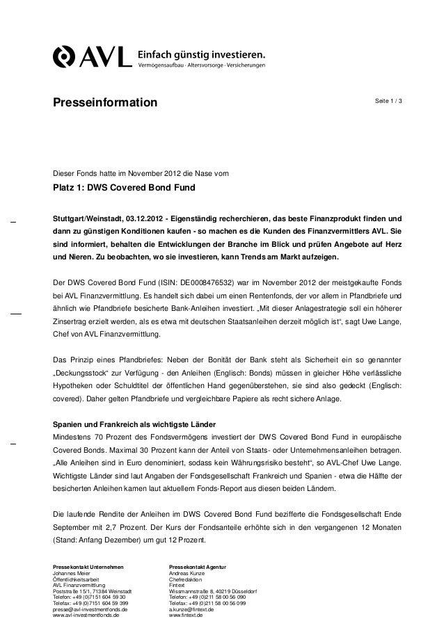 Presseinformation                                                                               Seite 1 / 3Dieser Fonds ha...