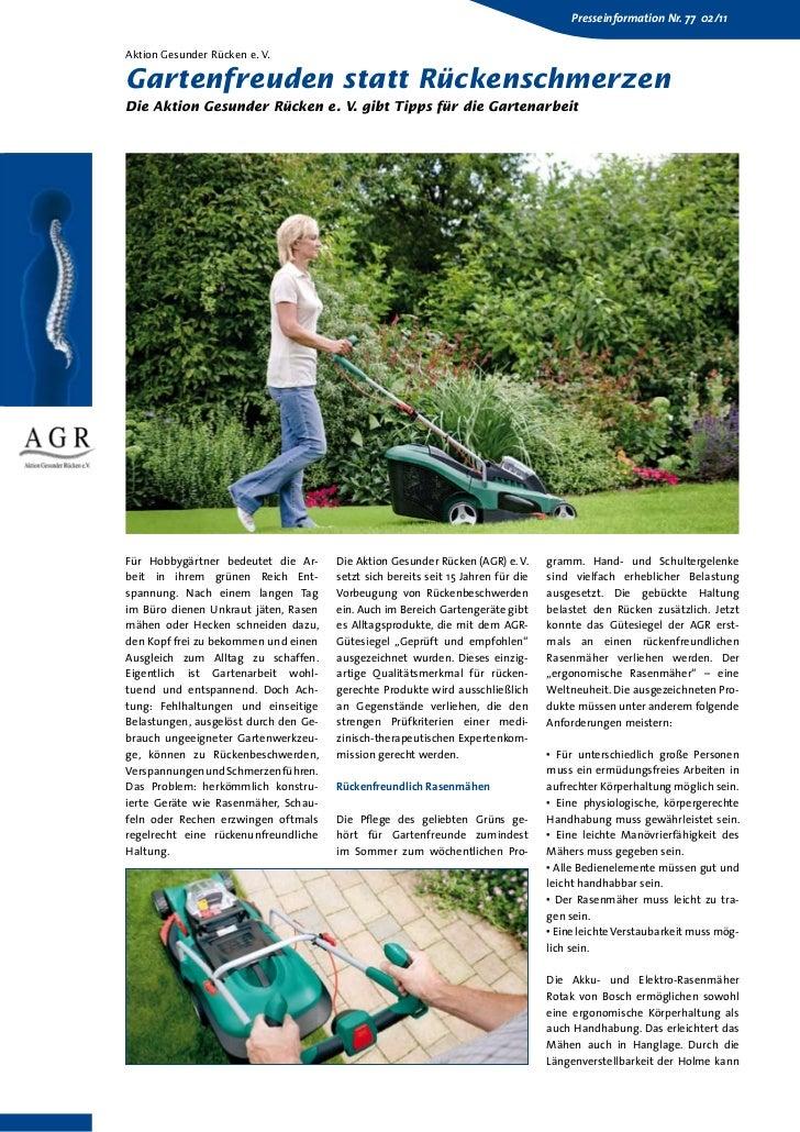 Presseinformation Nr. 77 02/11Aktion Gesunder Rücken e. V.Gartenfreuden statt RückenschmerzenDie Aktion Gesunder Rücken e....