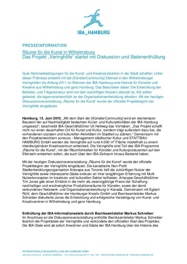 """Räume für die Kunst in WilhelmsburgDas Projekt """"Veringhöfe"""" startet mit Diskussion und StelenenthüllungGute Rahmenbedingun..."""