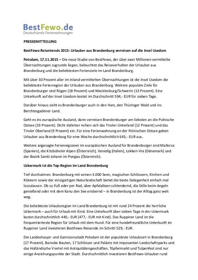 PRESSEMITTEILUNG BestFewo Reisetrends 2015: Urlauber aus Brandenburg verreisen auf die Insel Usedom Potsdam, 17.11.2015 – ...