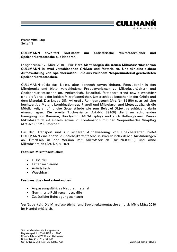 PressemitteilungSeite 1/3CULLMANN erweitert Sortiment           um    antistatische   Mikrofasertücher      undSpeicherkar...
