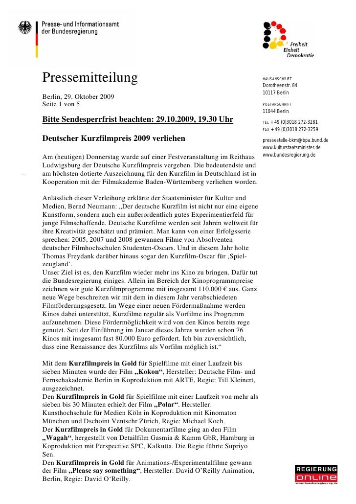 Pressemitteilung                                                             HAUSANSCHRIFT                                ...