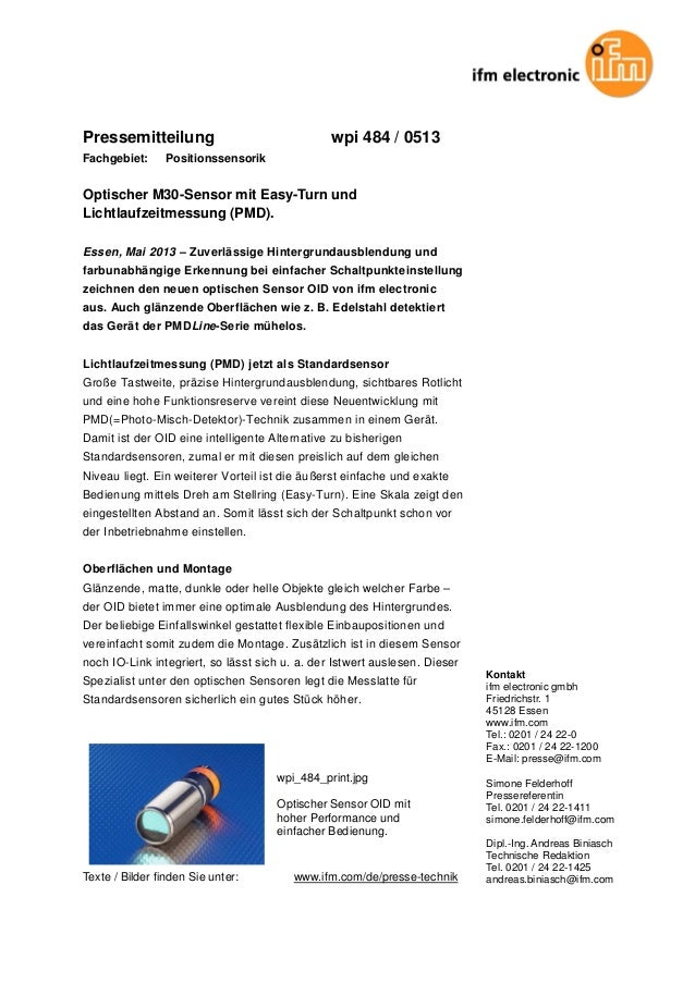 Pressemitteilung wpi 484 / 0513 Fachgebiet: Positionssensorik Optischer M30-Sensor mit Easy-Turn und Lichtlaufzeitmessung ...