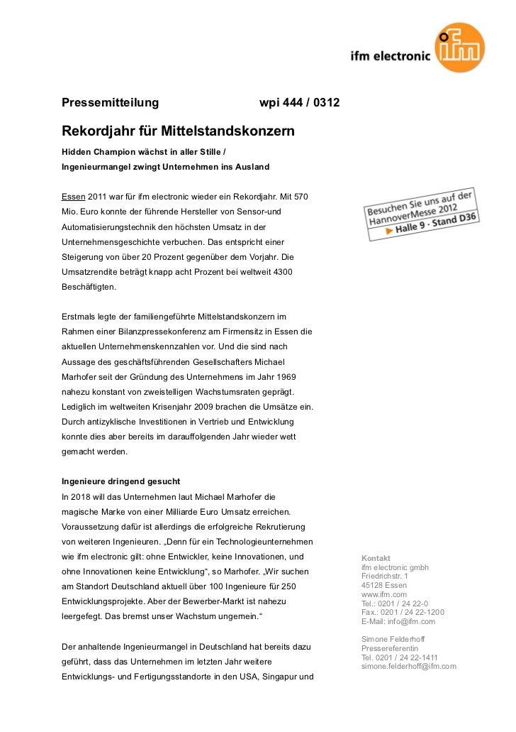 Pressemitteilung                                     wpi 444 / 0312Rekordjahr für MittelstandskonzernHidden Champion wächs...