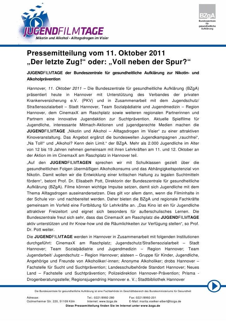 """Pressemitteilung vom 11. Oktober 2011""""Der letzte Zug!"""" oder: """"Voll neben der Spur?""""JUGENDFILMTAGE der Bundeszentrale für g..."""