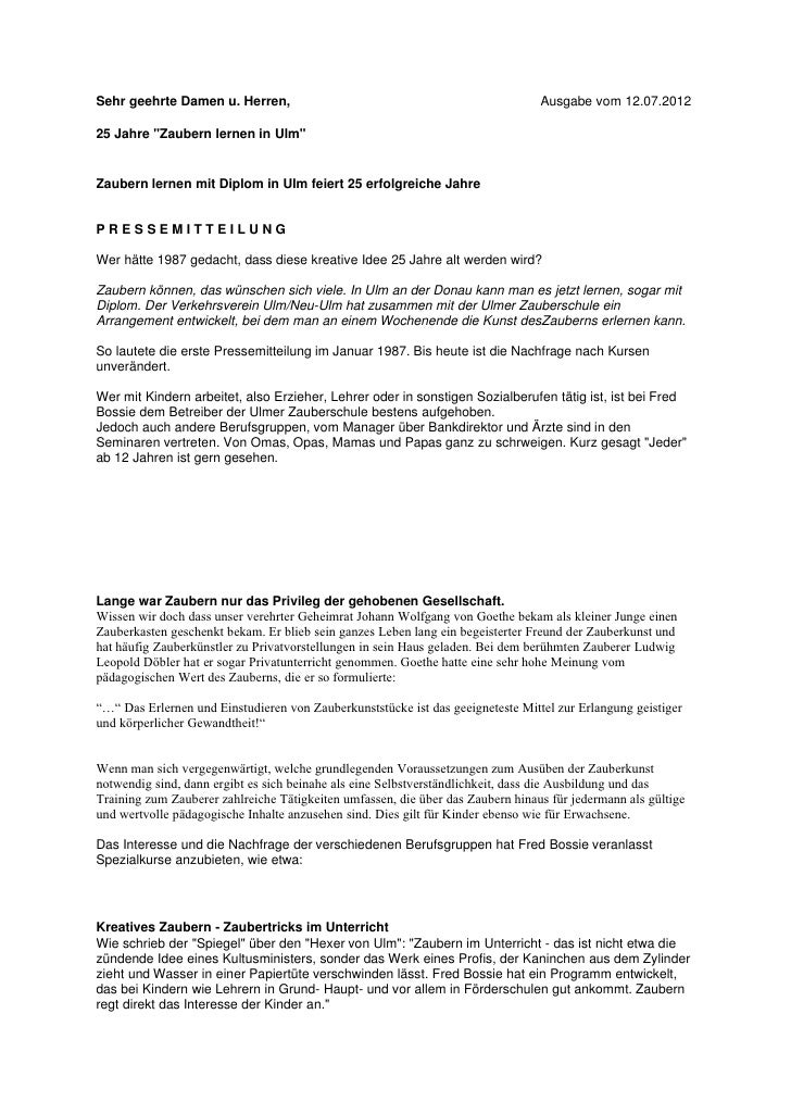 """Sehr geehrte Damen u. Herren,                                                    Ausgabe vom 12.07.201225 Jahre """"Zaubern l..."""