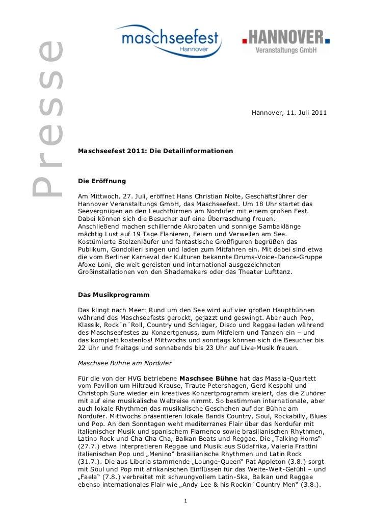 Presse                                                               Hannover, 11. Juli 2011         Maschseefest 2011: Di...