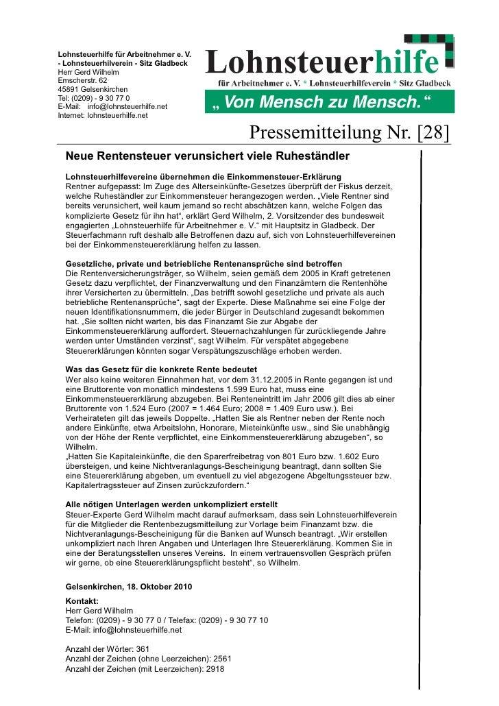 Lohnsteuerhilfe für Arbeitnehmer e. V.- Lohnsteuerhilverein - Sitz GladbeckHerr Gerd WilhelmEmscherstr. 6245891 Gelsenkirc...