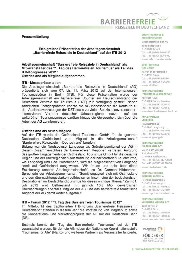 """Pressemitteilung          Erfolgreiche Präsentation der Arbeitsgemeinschaft       """"Barrierefreie Reiseziele in Deutschland..."""