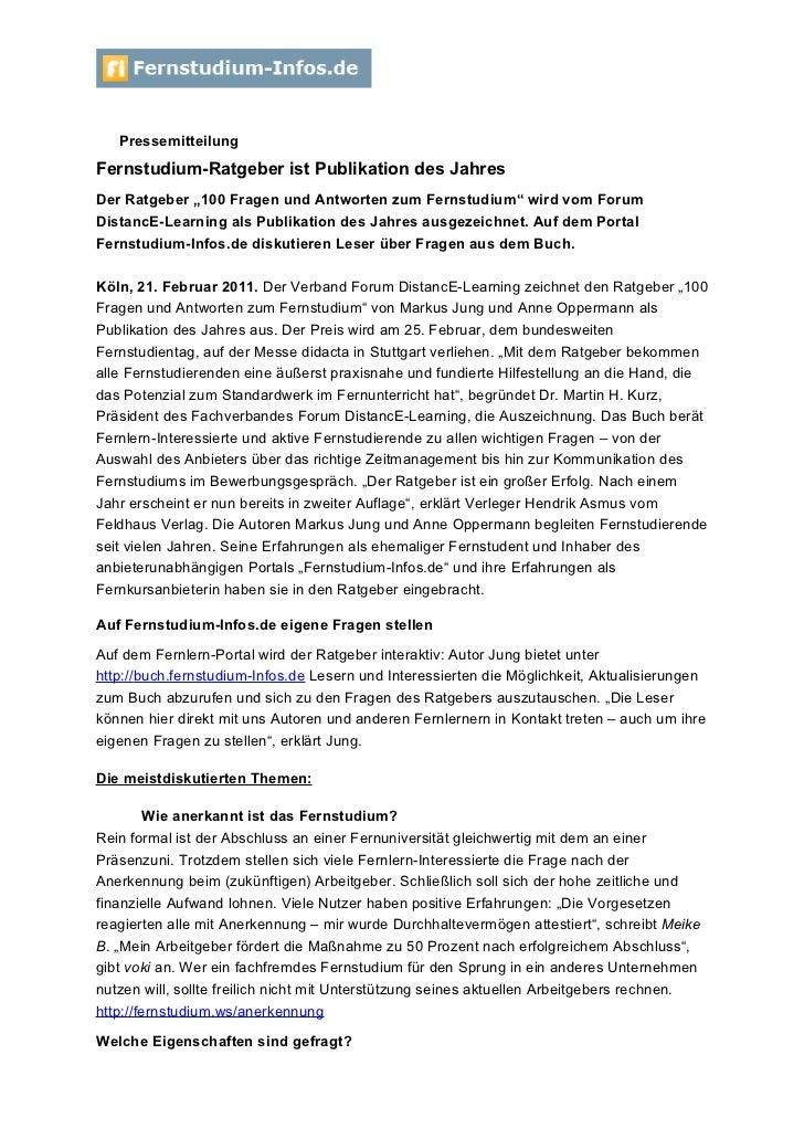 """PressemitteilungFernstudium-Ratgeber ist Publikation des JahresDer Ratgeber """"100 Fragen und Antworten zum Fernstudium"""" wir..."""