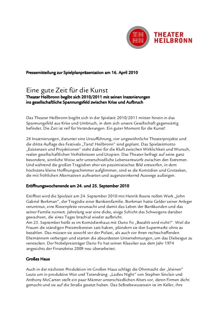 Pressemitteilung zur Spielplanpräsentation am 16. April 2010Eine gute Zeit für die KunstTheater Heilbronn begibt sich 2010...