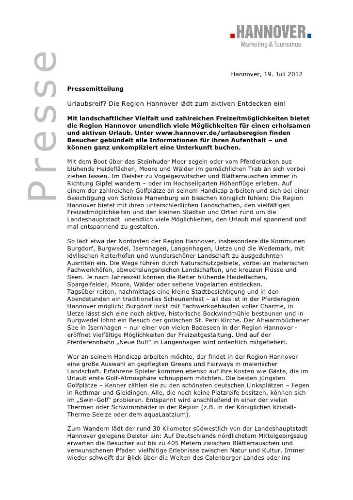 Presse                                                               Hannover, 19. Juli 2012         Pressemitteilung     ...