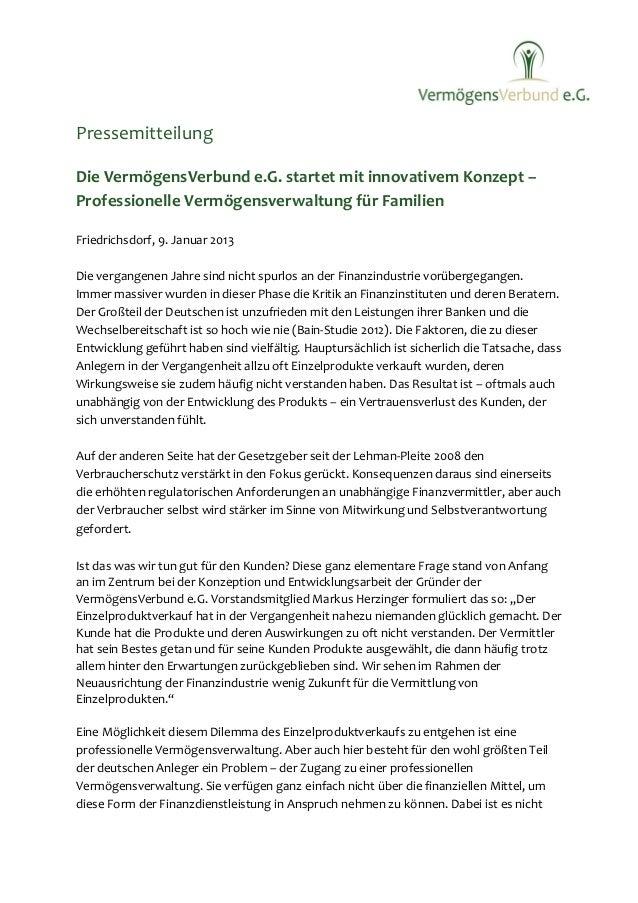 PressemitteilungDie VermögensVerbund e.G. startet mit innovativem Konzept –Professionelle Vermögensverwaltung für Familien...