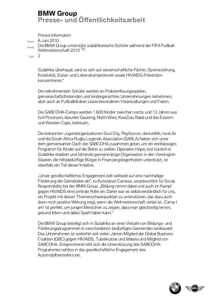 BMW Group         Presse- und Öffentlichkeitsarbeit         Presse-InformationDatum    8.Juni 2010Thema    Die BMW Group u...