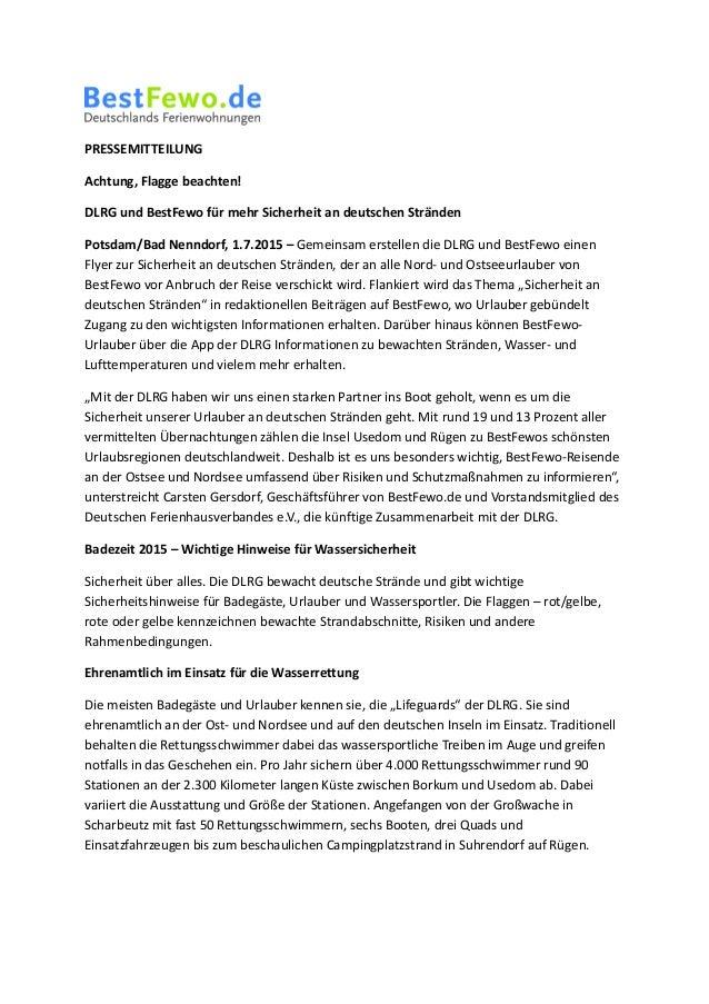PRESSEMITTEILUNG Achtung, Flagge beachten! DLRG und BestFewo für mehr Sicherheit an deutschen Stränden Potsdam/Bad Nenndor...