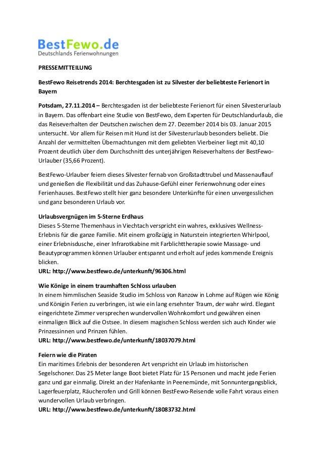 PRESSEMITTEILUNG  BestFewo Reisetrends 2014: Berchtesgaden ist zu Silvester der beliebteste Ferienort in  Bayern  Potsdam,...