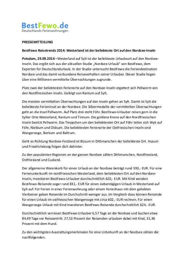 PRESSEMITTEILUNG  BestFewo Reisetrends 2014: Westerland ist der beliebteste Ort auf den Nordsee-Inseln  Potsdam, 29.09.201...