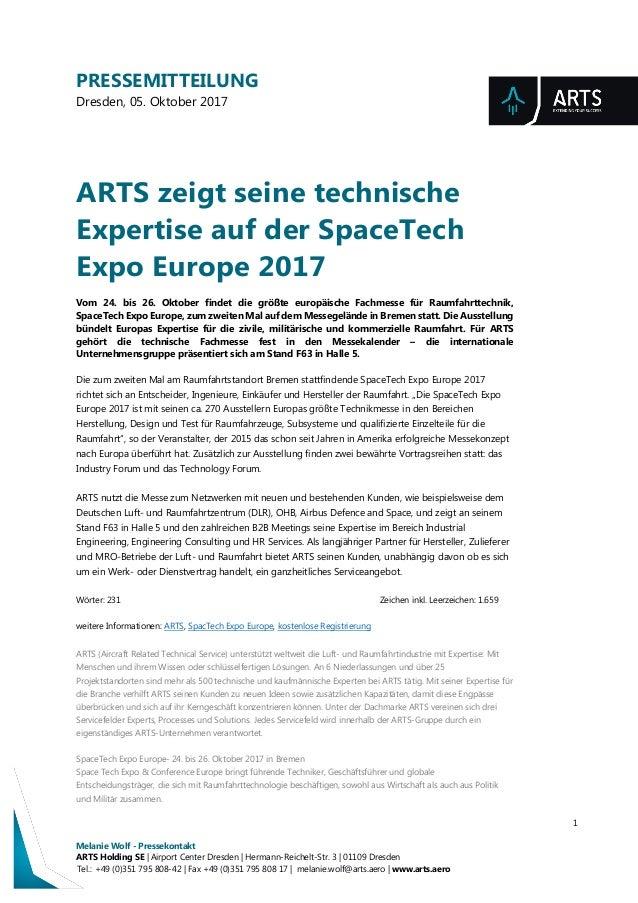 PRESSEMITTEILUNG Dresden, 05. Oktober 2017 1 Melanie Wolf - Pressekontakt ARTS Holding SE | Airport Center Dresden | Herma...