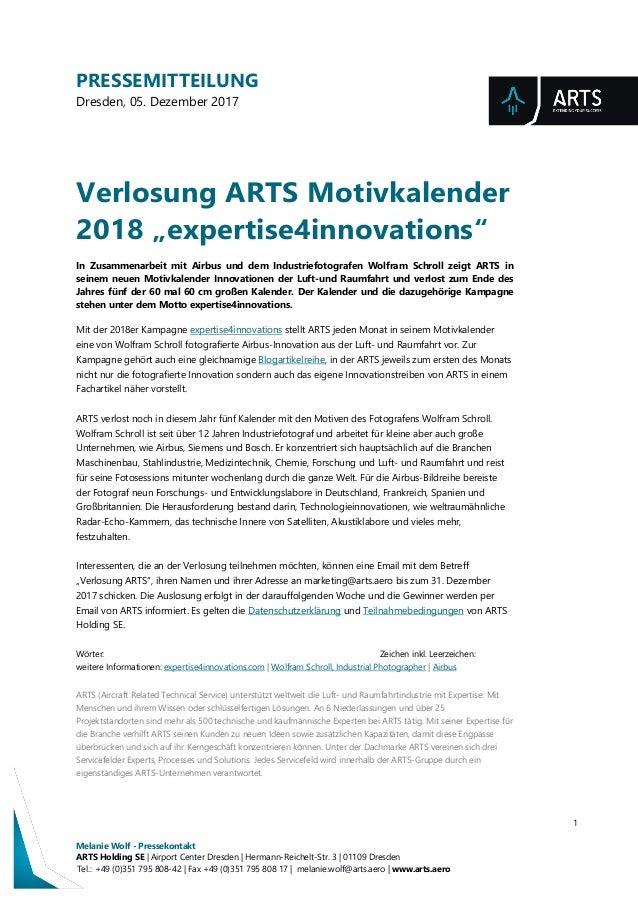 PRESSEMITTEILUNG Dresden, 05. Dezember 2017 1 Melanie Wolf - Pressekontakt ARTS Holding SE | Airport Center Dresden | Herm...