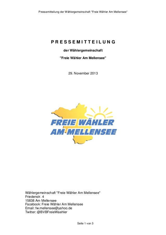 """Pressemitteilung der Wählergemeinschaft """"Freie Wähler Am Mellensee""""  PRESSEMITTEILUNG der Wählergemeinschaft """"Freie Wähler..."""