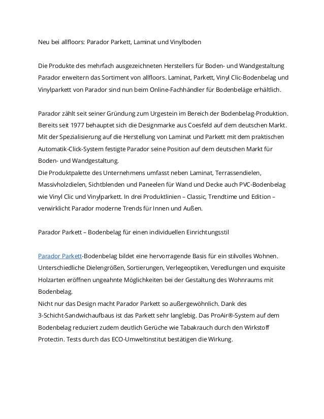 Neu bei allfloors: Parador Parkett, Laminat und VinylbodenDie Produkte des mehrfach ausgezeichneten Herstellers für Boden-...
