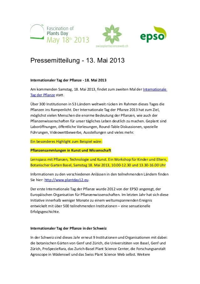 Pressemitteilung - 13. Mai 2013Internationaler Tag der Pflanze - 18. Mai 2013Am kommenden Samstag, 18. Mai 2013, findet zu...