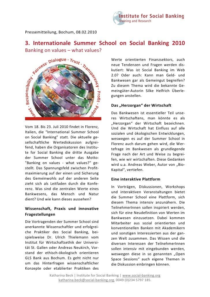 Pressemitteilung,Bochum,08.02.2010  3. Internationale Summer School on Social Banking 2010 Bankingonvalu...