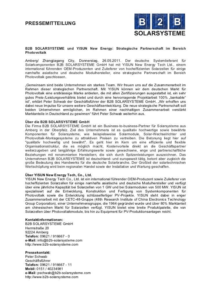 PRESSEMITTEILUNGB2B SOLARSYSTEME und YISUN New Energy: Strategische Partnerschaft im BereichPhotovoltaikAmberg/  Zhangji...