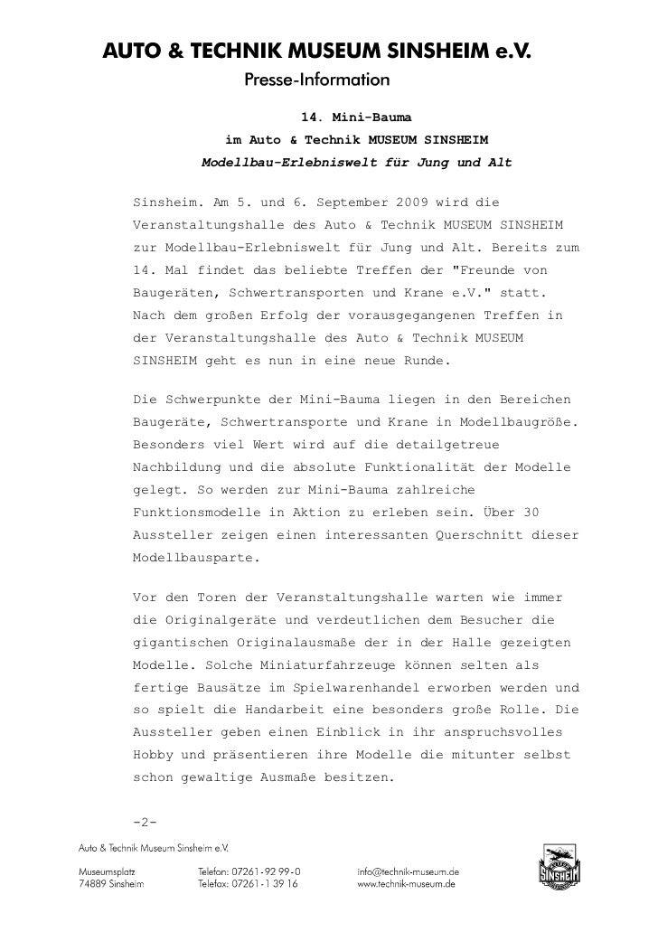 14. Mini-Bauma           im Auto & Technik MUSEUM SINSHEIM        Modellbau-Erlebniswelt für Jung und AltSinsheim. Am 5. u...