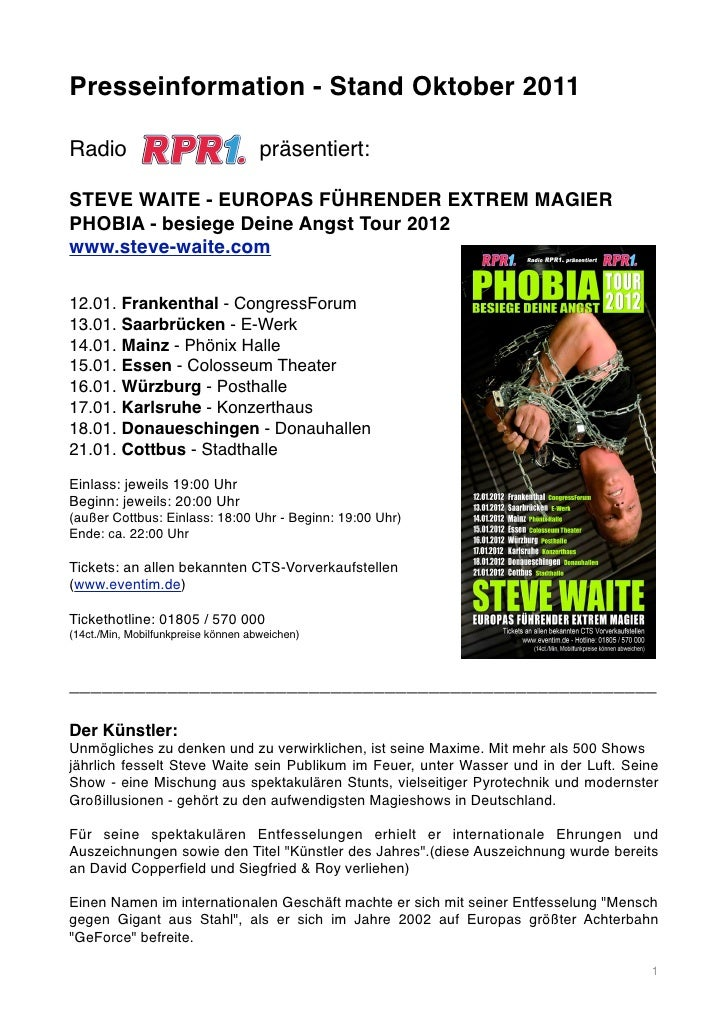Presseinformation - Stand Oktober 2011Radio                                präsentiert:STEVE WAITE - EUROPAS FÜHRENDER EXT...