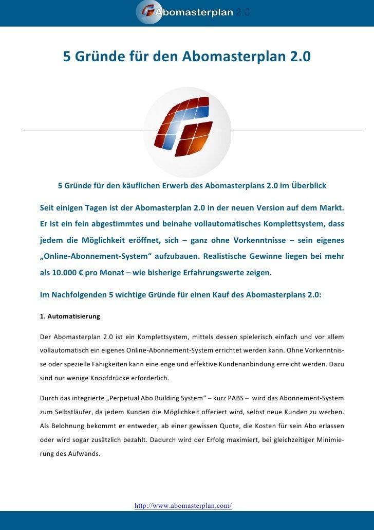 Abomasterplan Pressetext 5 Gründe für den Abomasterplan