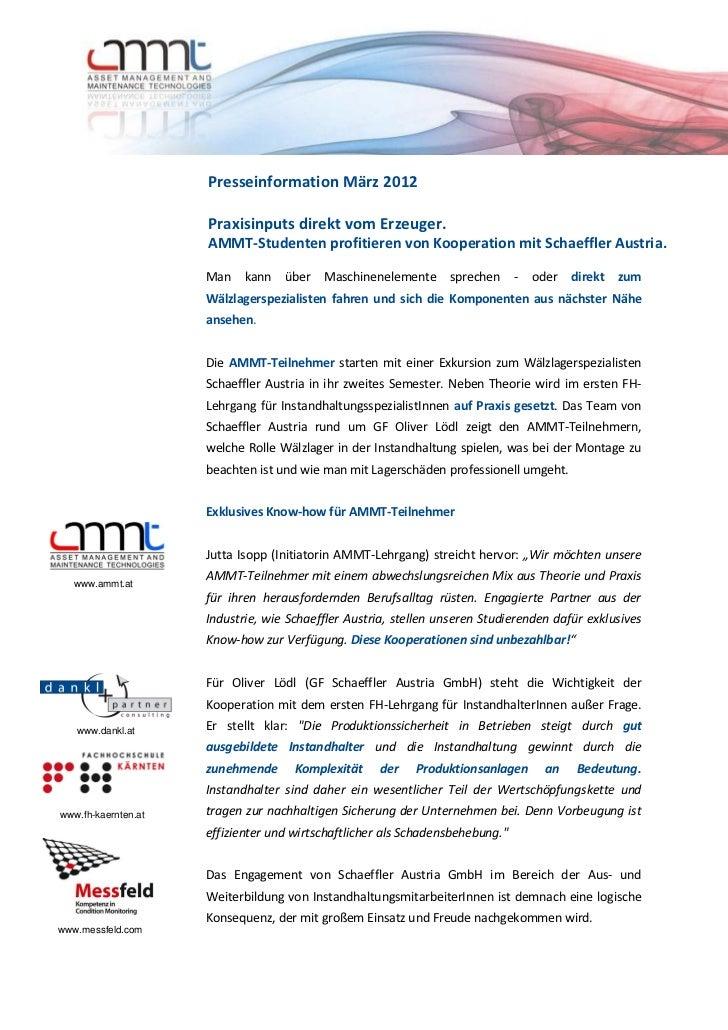Presseinformation März 2012                     Praxisinputs direkt vom Erzeuger.                     AMMT-Studenten profi...