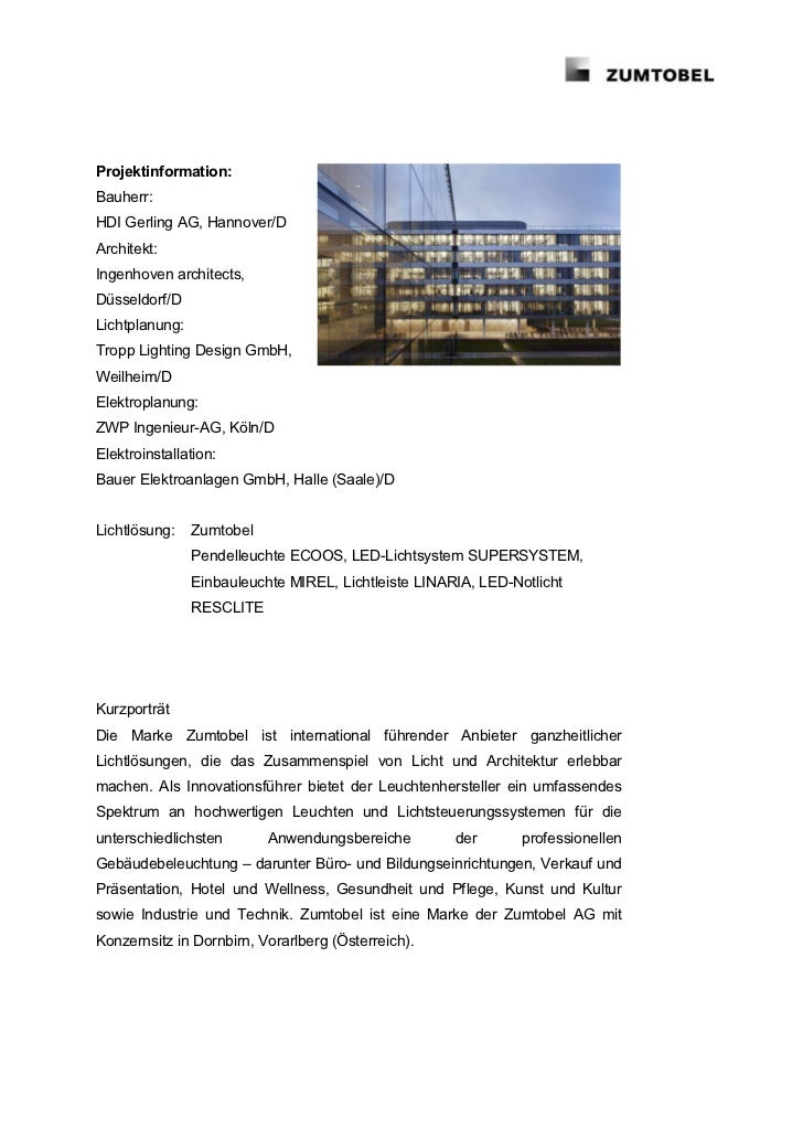 Projektinformation:Bauherr:HDI Gerling AG, Hannover/DArchitekt:Ingenhoven architects,Düsseldorf/DLichtplanung:Tropp Lighti...