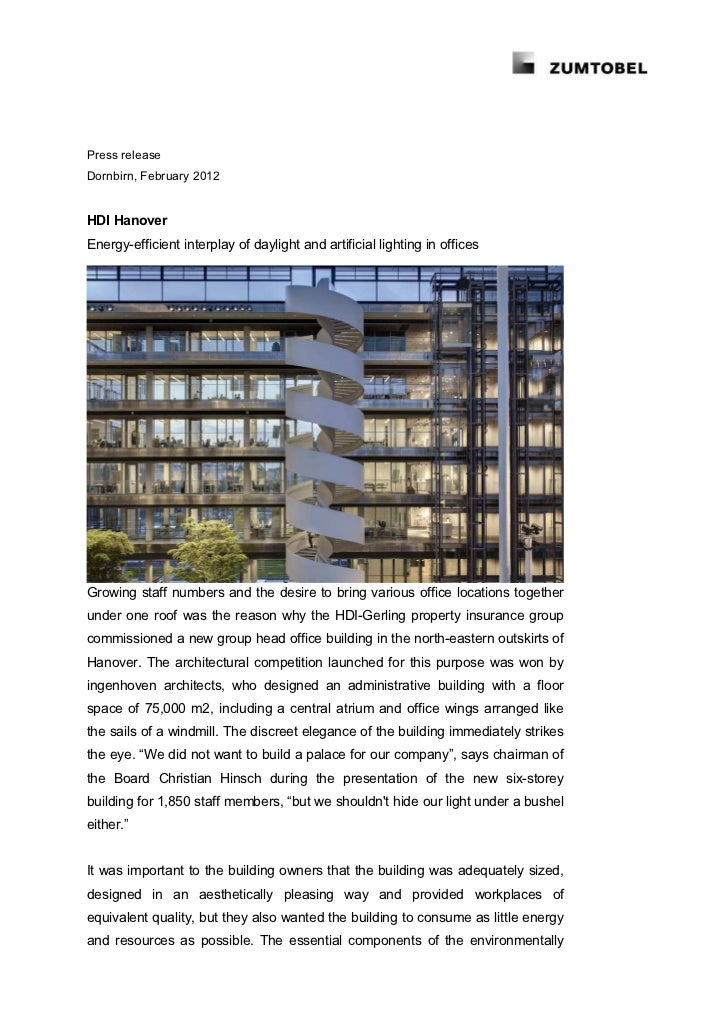 Press releaseDornbirn, February 2012HDI HanoverEnergy-efficient interplay of daylight and artificial lighting in officesGr...
