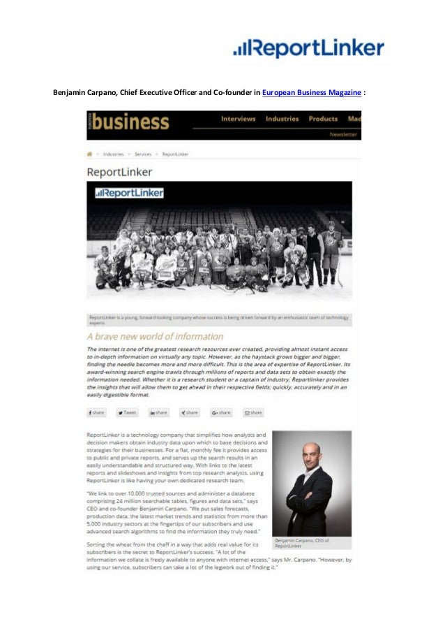 Benjamin Carpano, Chief Executive Officer and Co-founder in European Business Magazine :