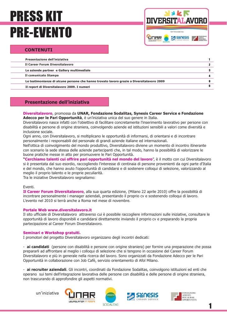 PRESS KIT PRE-EVENTO    CONTENUTI    Presentazione dell'iniziativa                                                        ...